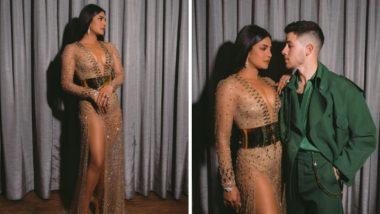 हाय स्लिट ड्रेसमध्ये प्रियंकाचा दिसला ग्लॅमरस लूक, पति निक जोनस सोबतचा शानदार फोटो सोशल मीडियात व्हायरल