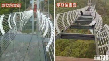 Shocking! चीनमधील काचेच्या ब्रिजवर चालत होता पर्यटक; अचानक वारा सुरू आल्यानंतर काय झालं, पहा व्हायरल फोटो