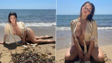 Demi Rose Hot Photos: अमेरिकन मॉडल डेमी रोज हिचे समुद्रकिनारी Cleavage दाखवतानाचे हॉट फोटोज पाहून चाहत्यांची उडेल झोप