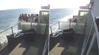 Beach House मध्ये पार्टी सुरु असताना लोकांनी भरलेली बाल्कनी अचानक कोसळली; Viral Video द्वारे पहा घटनेचा थरार