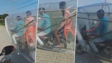 Desi Jugaad Video: कोविड-19 पासून सुरक्षित राहण्यासाठी बाईकस्वाराने लढवली अनोखी शक्कल; व्हिडिओ व्हायरल