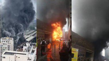 London Fire: एलिफंट कॅसल रेल्वे स्थानकाजवळ भीषण आग; 15 फायर इंजिन आणि सुमारे 100 अग्निशामक कर्मचाऱ्यांनी आणली आटोक्यात (Watch Video)