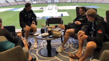 ICC WTC Final 2021: महामुकाबल्याचं पहिले सत्र 'पाण्यात' आणि किवी खेळाडू लुटत आहे कॉफीचा आनंद, पाहा Photo