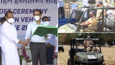 मुख्यमंत्री उद्धव ठाकरे यांनी गिरगाव चौपाटी येथे पोलिसांच्या  10 Terrain Vehicles ला दाखवला हिरवा झेंडा