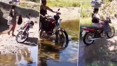 Viral Video: डोक्यावर भांडी, दोन्ही हातात सामान असतानाही एका महिलेने चक्क पाण्यातून चालवली बाईक, पाहा व्हिडिओ