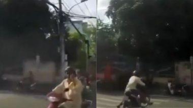 Watch Viral Video: नजर हटली, दुर्घटना घडली! एक व्यक्ती फोनवर बोलत चालवत होता स्कूटर, मग पुढे काय घडले? पाहा संपूर्ण व्हिडिओ