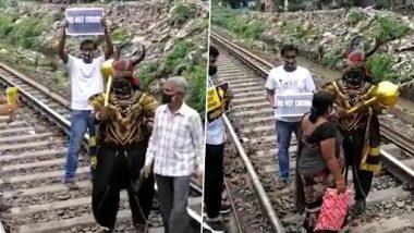 Mumbai Harbour Line: जीव धोक्यात घालून रेल्वे रूळ ओलांडणाऱ्या नागरिकांच्या समोर आला यमराज, पाहा व्हिडिओ