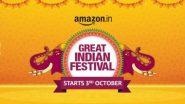Amazon Great Indian Festival Sale 2021: येत्या 3 ऑक्टोंबर पासून अॅमेझॉन ग्रेट इंडियन फेस्टिव्हलच्या सेलला होणार सुरुवात