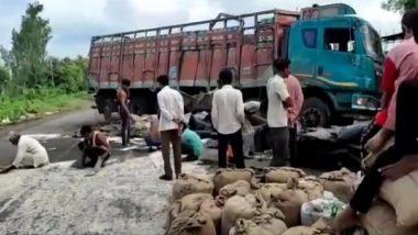 Yavatmal: आर्णी येथील दत्तरामपूर गावाजवळ तांदळाचा शासकीय ट्रक उलटला