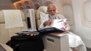 PM Narendra Modi लांब पल्ल्याच्या प्रवासातही करत आहेत काम; विमानातील फोटो शेअर करत दिली माहिती
