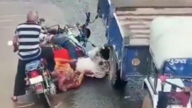 गुजरात मध्ये रस्त्यावरुन जाणाऱ्या बाइकची खड्ड्यांमुळे ट्रॅकटरसोबत टक्कर, व्यक्तीच्या अंगावरुन गाडी लोटल्याचा धक्कादायक प्रकार उघडकीस (Video)