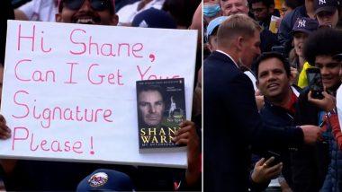 IND vs ENG: भारतीय चाहत्याच्या आग्रहावर ऑटोग्राफ देण्यासाठी स्टँड्समध्ये पोहचला दिग्गज ऑस्ट्रेलियन फिरकीपटू Shane Warne, व्हिडिओ व्हायरल