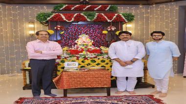 Ganeshotsav 2021: धनंजय मुंडेंनी घेतले  मुख्यमंत्री उद्धव ठाकरेंच्या वर्षा निवासस्थानी विराजमान गणपती बाप्पाचे दर्शन