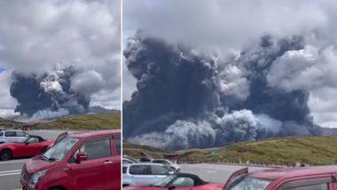 Japan's Mount Aso Volcano: जपानमध्ये 'माउंट आसो' ज्वालामुखीचा उद्रेक; आकाशात 2.17 मैलपर्यंत पसरली राख, पहा थक्क करणारा Viral Video