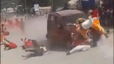 Chhattisgarh Shocker: दुर्गा विसर्जनासाठी जाणाऱ्या लोकांना वेगवान कारने चिरडले; पहा धक्कादायक घटनेचा व्हिडिओ